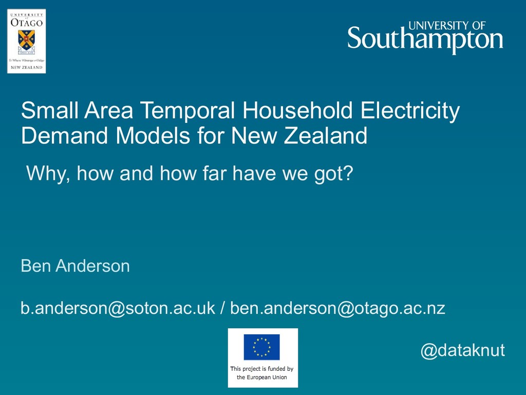 Small Area Temporal Household Electricity Deman...