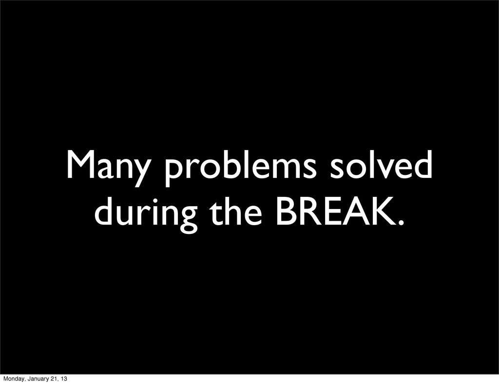 Many problems solved during the BREAK. Monday, ...