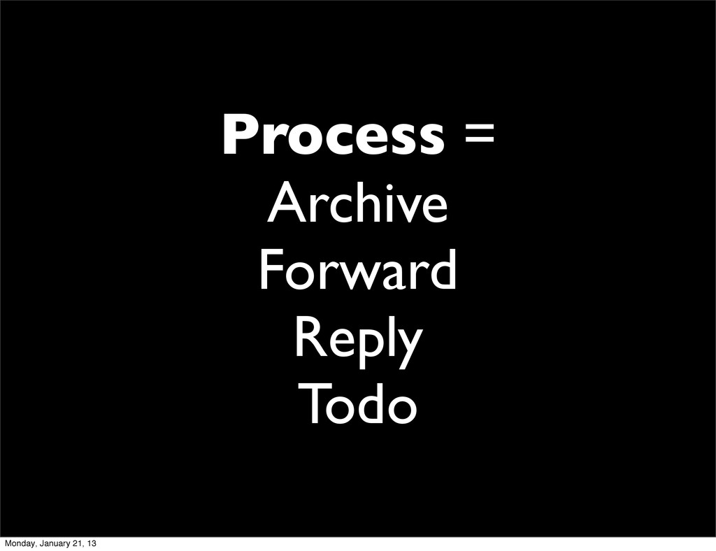 Process = Archive Forward Reply Todo Monday, Ja...
