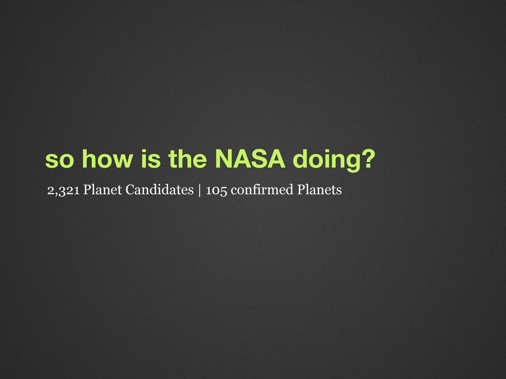 so how is the NASA doing? 2,321 Planet Candidat...