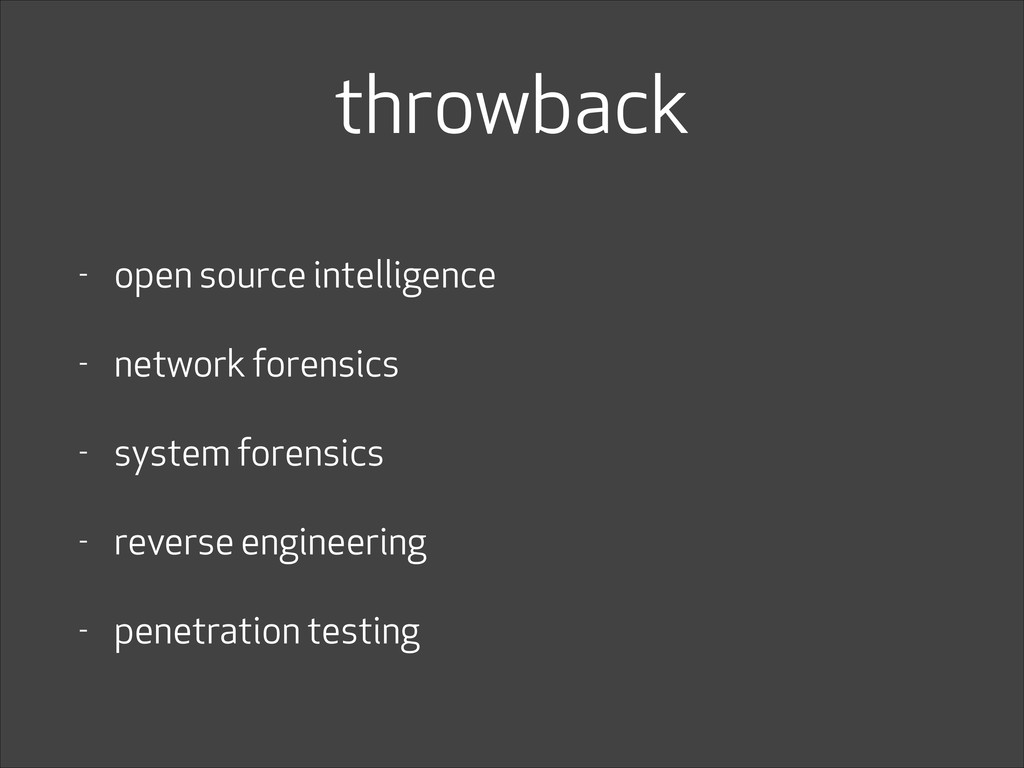 throwback - open source intelligence - network ...