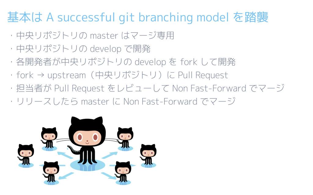 基本は A successful git branching model を踏襲 ・中央リポジ...