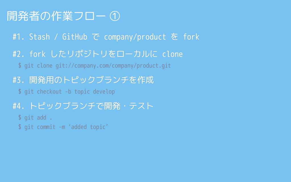 #1. Stash / GitHub で company/product を fork #2....