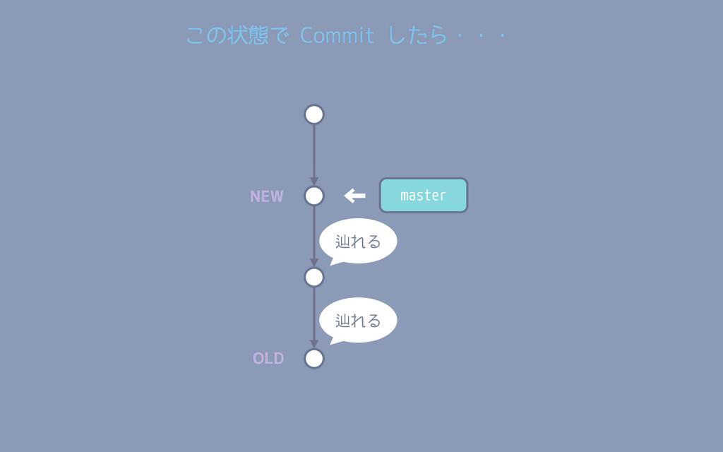 master ← 辿れる 辿れる NEW OLD この状態で Commit したら・・・