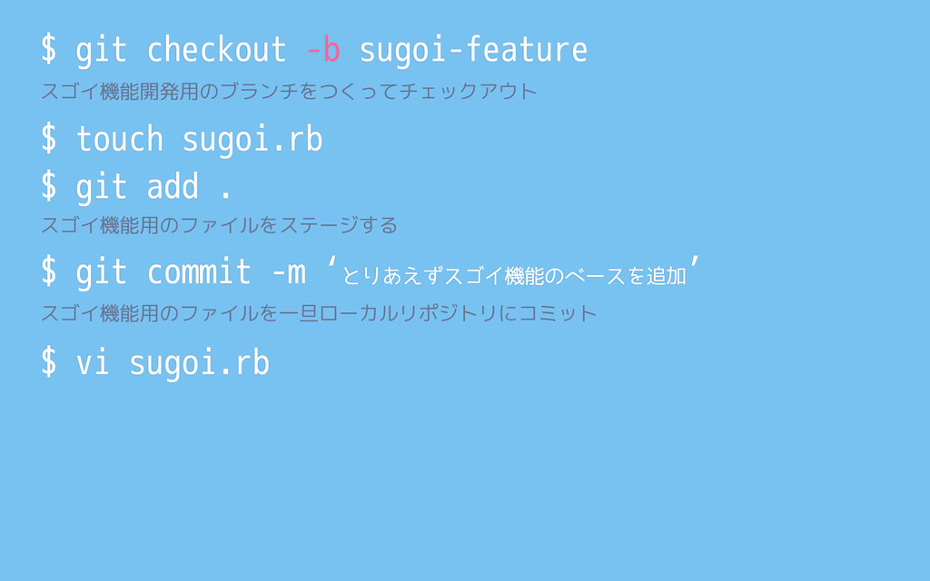 $ touch sugoi.rb $ vi sugoi.rb $ git checkout -...