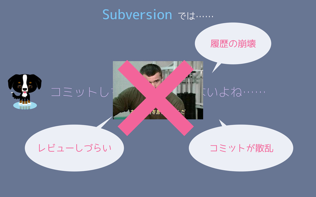 Subversion では…… コミットしちゃったし仕方ないよね…… ×履歴の崩壊 レビューし...