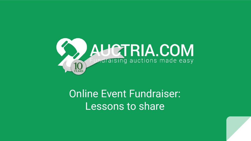 Online Event Fundraiser: Lessons to share