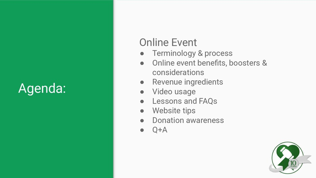 Agenda: Online Event ● Terminology & process ● ...