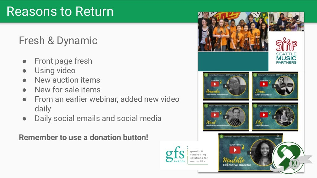 Reasons to Return Fresh & Dynamic ● Front page ...