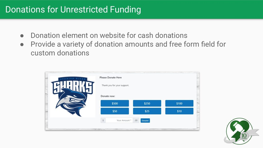 Donations for Unrestricted Funding ● Donation e...