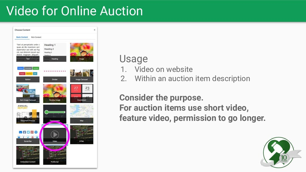 Video for Online Auction Usage 1. Video on webs...