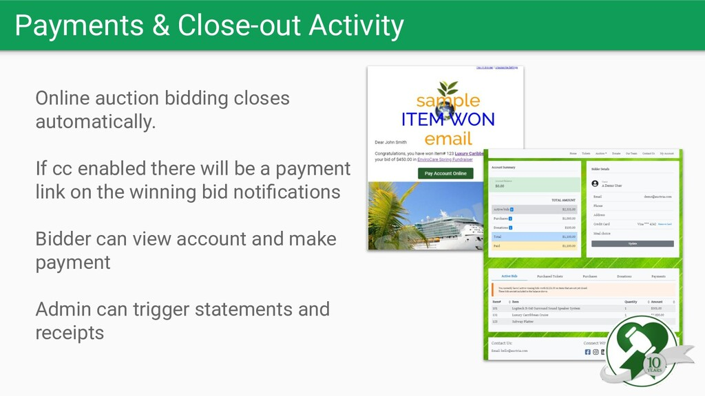 Payments & Close-out Activity Online auction bi...
