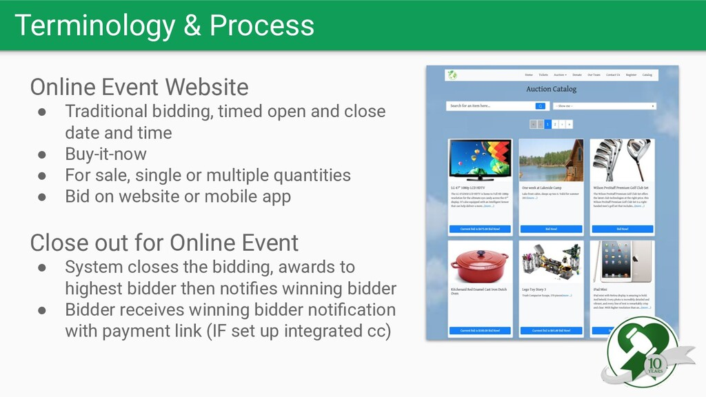 Terminology & Process Online Event Website ● Tr...