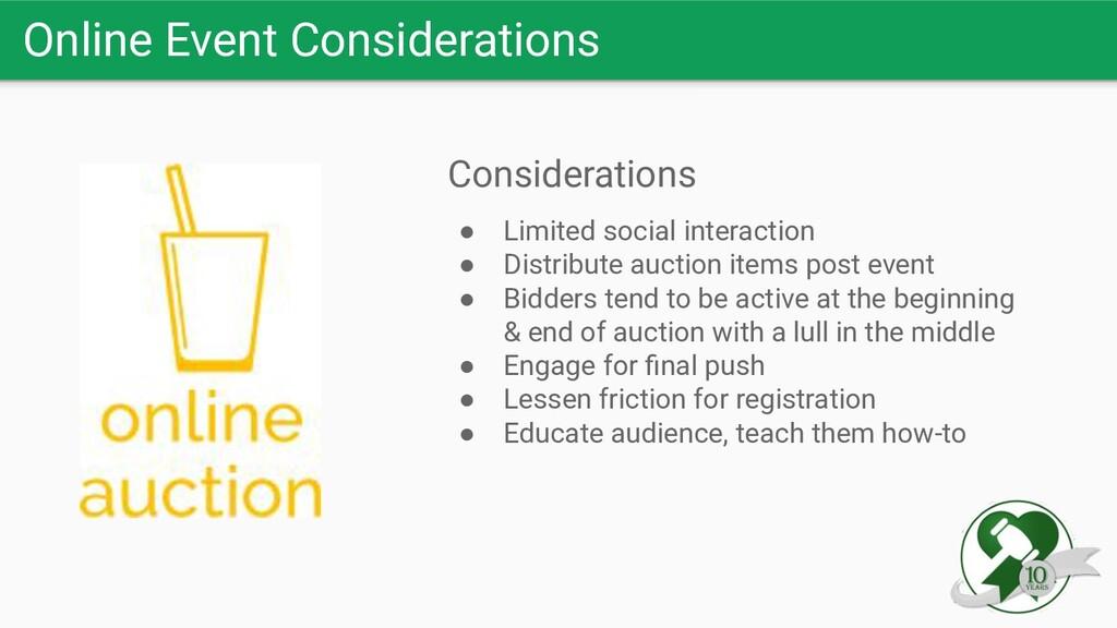 Online Event Considerations Considerations ● Li...