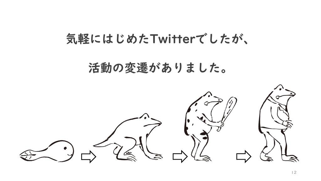 12 気軽にはじめたTwitterでしたが、 活動の変遷がありました。