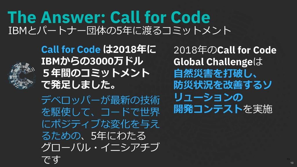 The Answer: Call for Code IBMとパートナー団体の5年に渡るコミット...