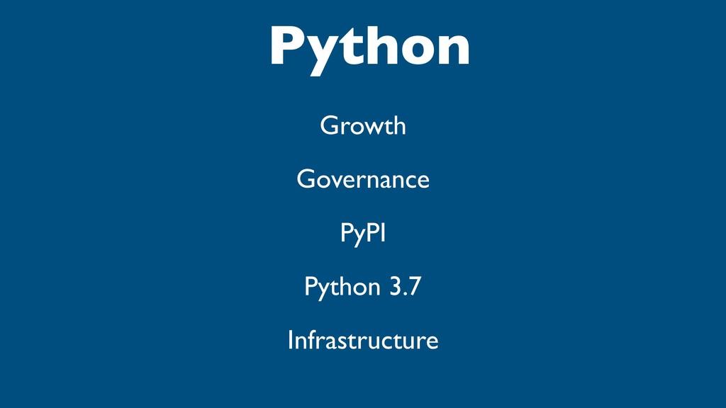 Python Growth Governance PyPI Python 3.7 Infras...