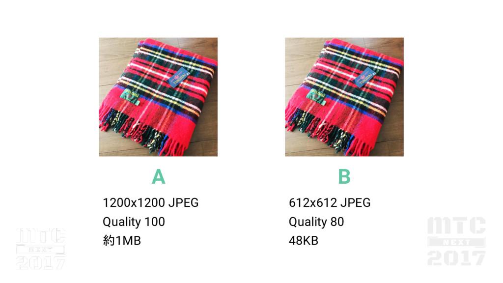 A 1200x1200 JPEG Quality 100 約1MB B 612x612 JPE...
