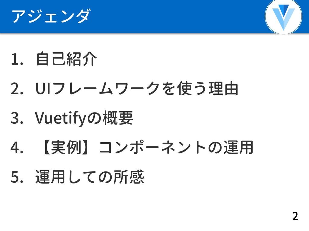 アジェンダ 1. 自己紹介 2. UIフレームワークを使う理由 3. Vuetifyの概要 4...
