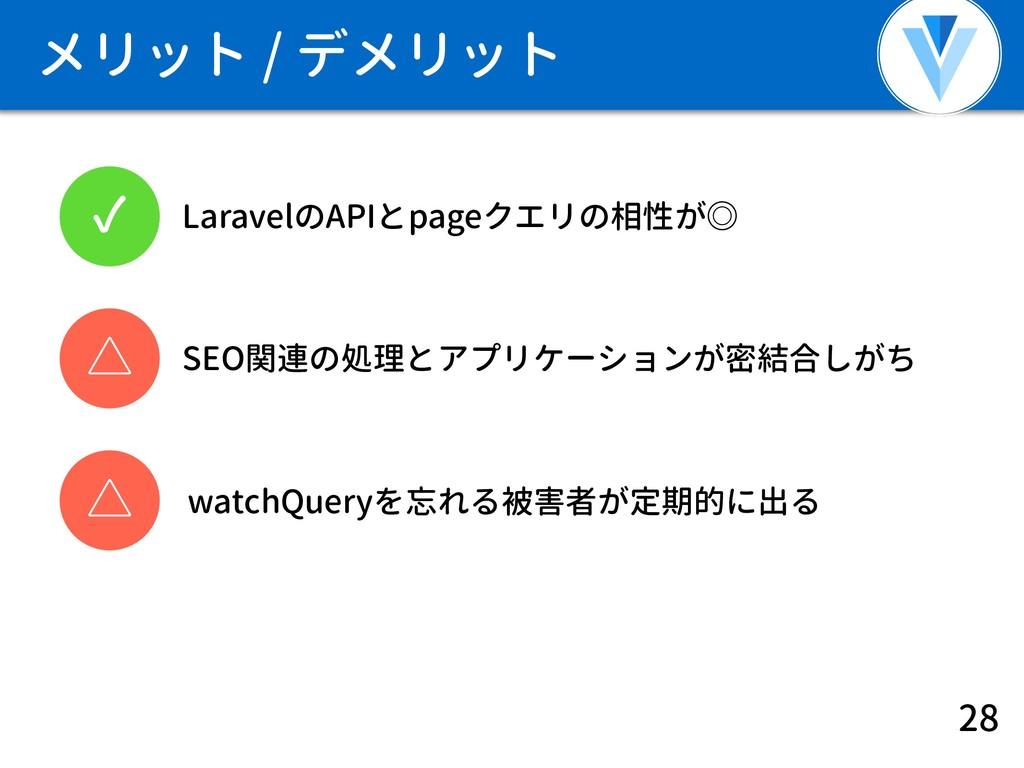 メリット / デメリット 28 ✓ LaravelのAPIとpageクエリの相性が◎ SEO関...
