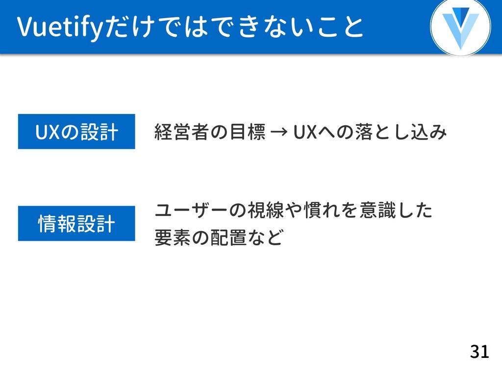Vuetifyだけではできないこと 31 UXの設計 経営者の目標 → UXへの落とし込み 情...