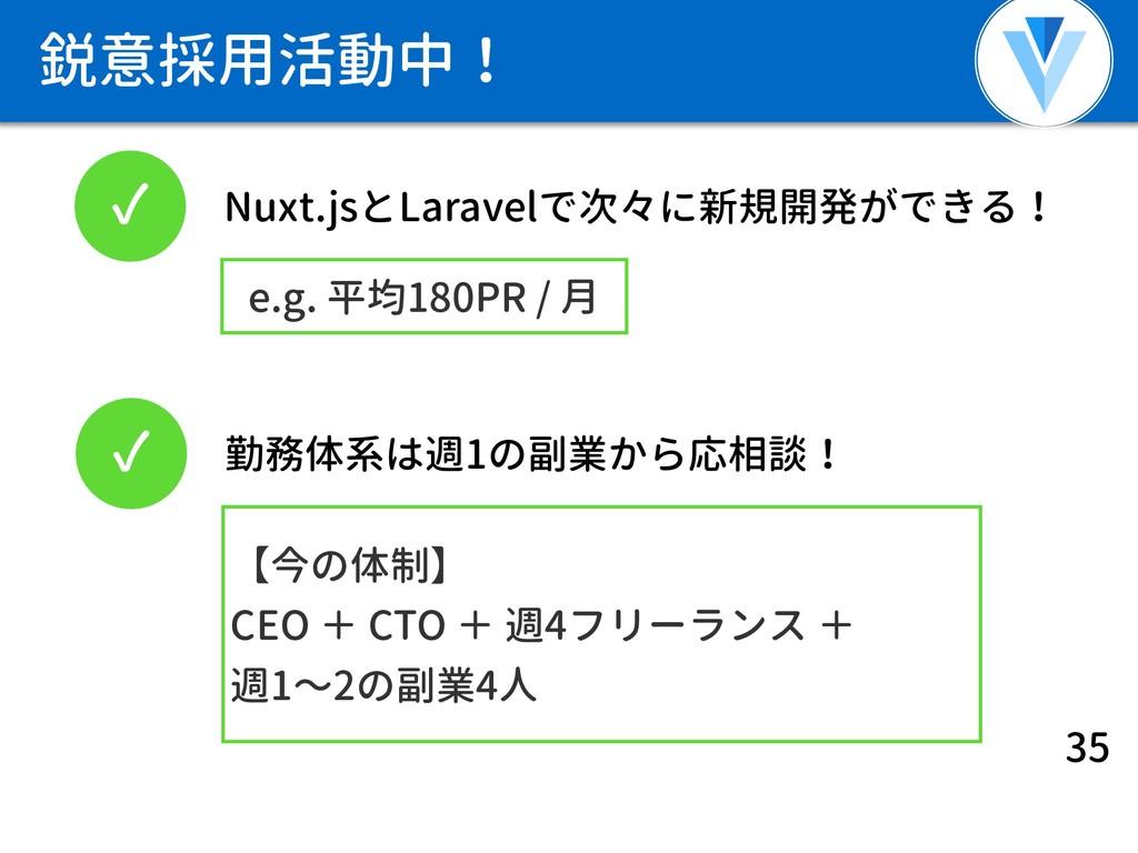 鋭意採用活動中! 35 ✓ Nuxt.jsとLaravelで次々に新規開発ができる! ✓ 勤務...
