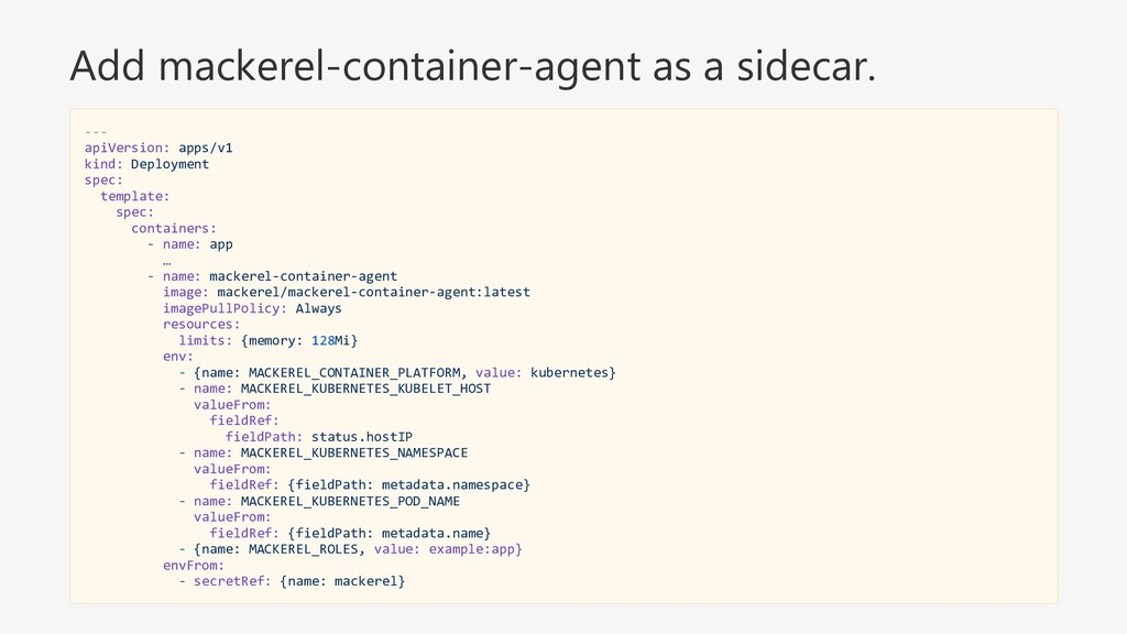 Add mackerel-container-agent as a sidecar. --- ...
