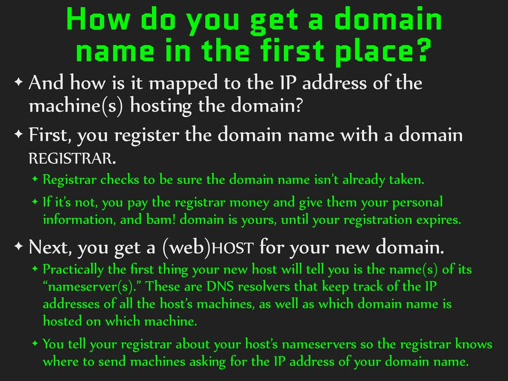 How do you get a domain name in the first place...