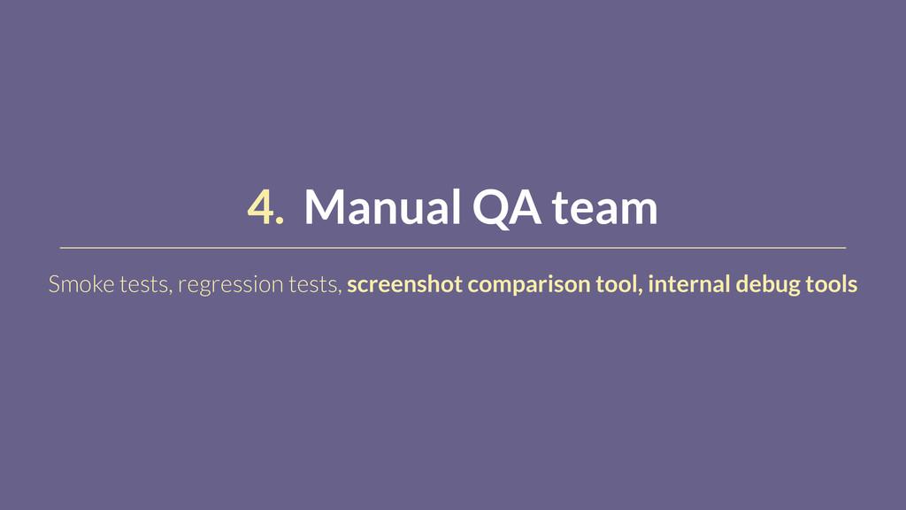 4. Manual QA team Smoke tests, regression tests...