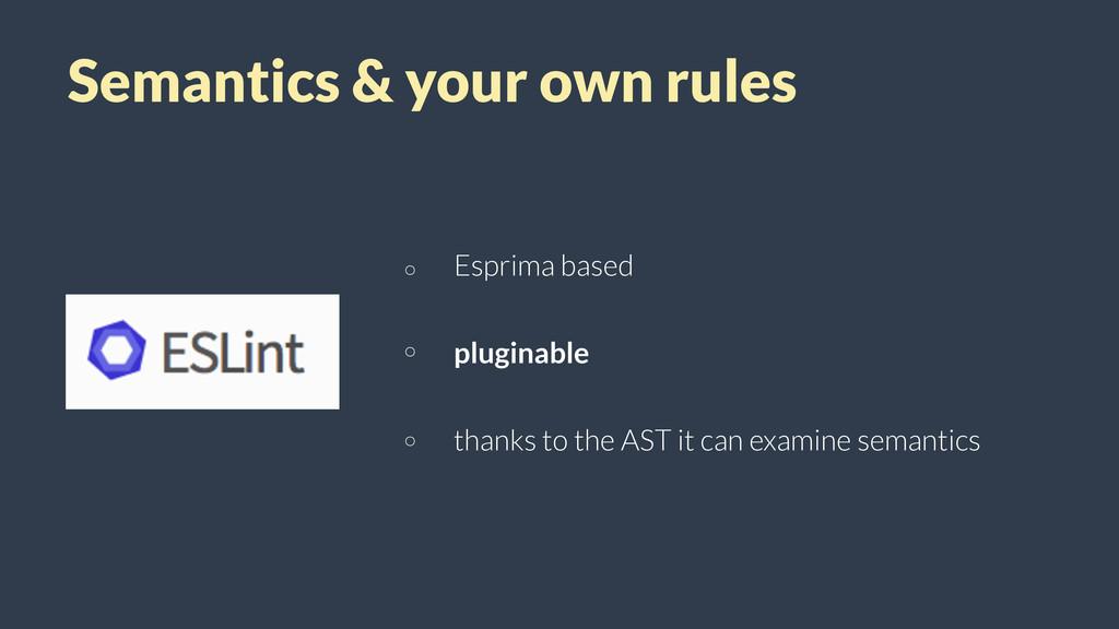 Semantics & your own rules Esprima based plugin...