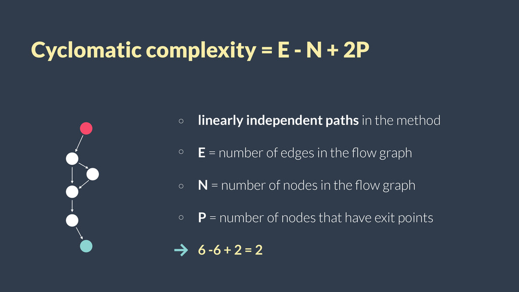 Cyclomatic complexity = E - N + 2P linearly ind...