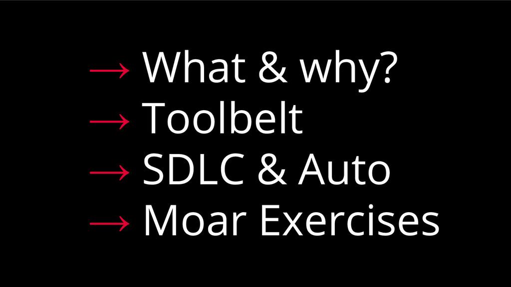 → What & why? → Toolbelt → SDLC & Auto → Moar E...