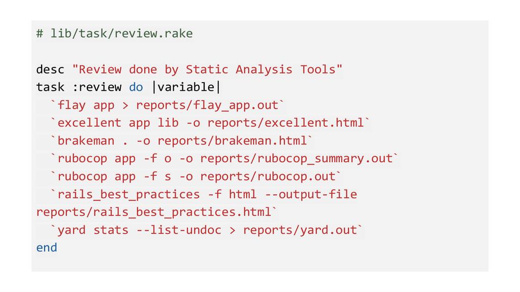 """# lib/task/review.rake desc """"Review done by Sta..."""