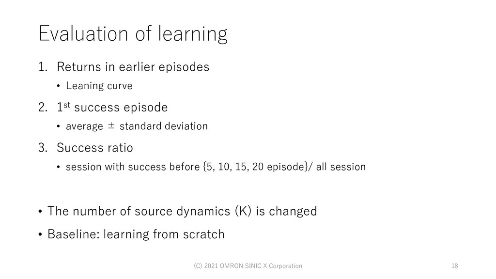 Evaluation of learning 1. Returns in earlier ep...