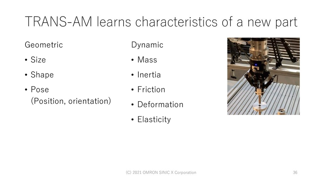 TRANS-AM learns characteristics of a new part G...