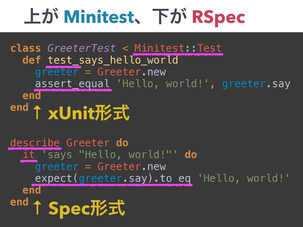 ্͕ MinitestɺԼ͕ RSpec class GreeterTest < Minite...