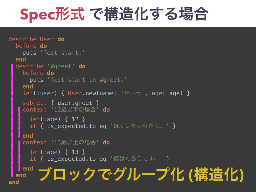 Specܗࣜ ͰߏԽ͢Δ߹ describe User do before do puts...
