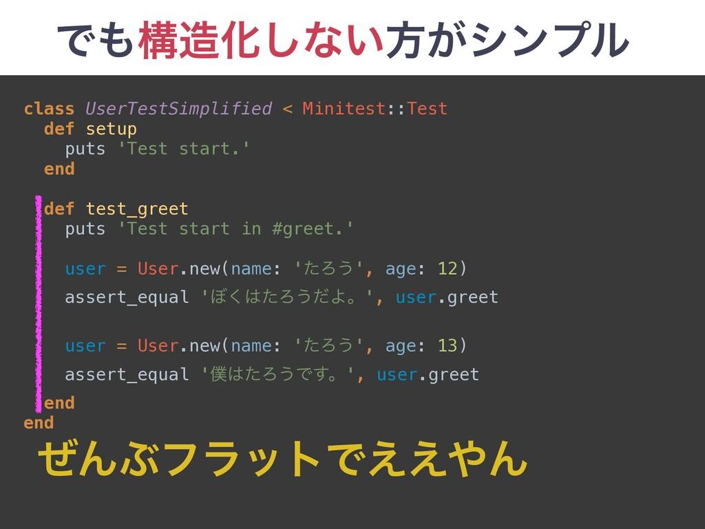 ͰߏԽ͠ͳ͍ํ͕γϯϓϧ class UserTestSimplified < Minit...