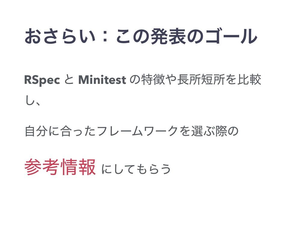 ͓͞Β͍ɿ͜ͷൃදͷΰʔϧ RSpec ͱ Minitest ͷಛॴॴΛൺֱ ͠ɺ ࣗ...