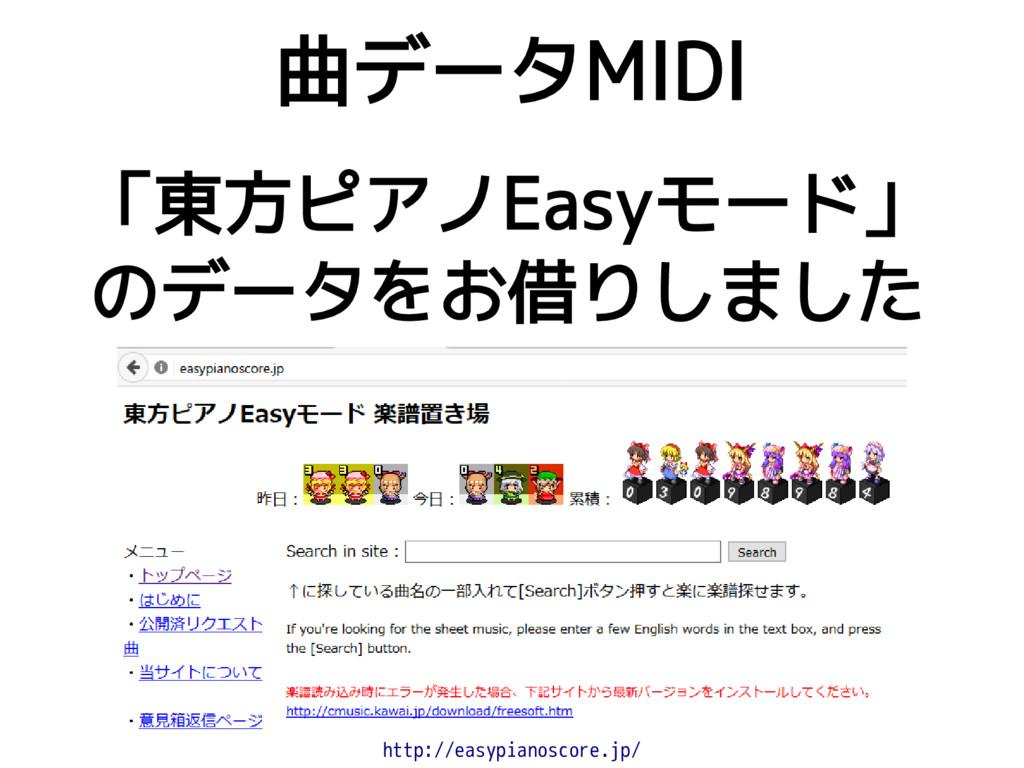 「東方ピアノEasyモード」 のデータをお借りしました 曲データMIDI http://eas...