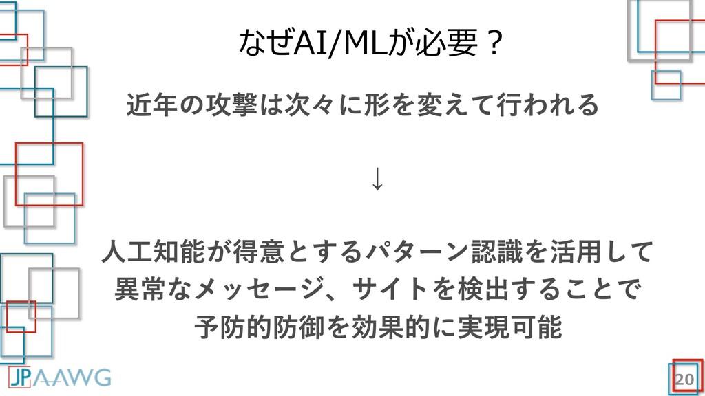 なぜAI/MLが必要︖ 20