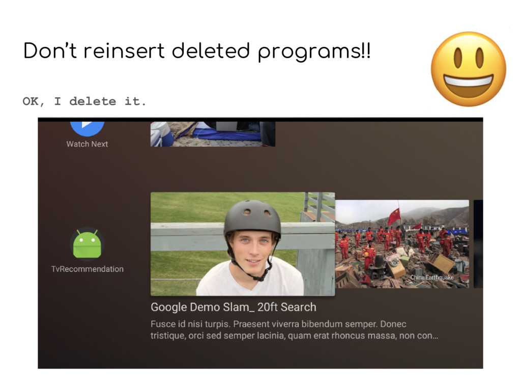 Don't reinsert deleted programs!! OK, I delete ...