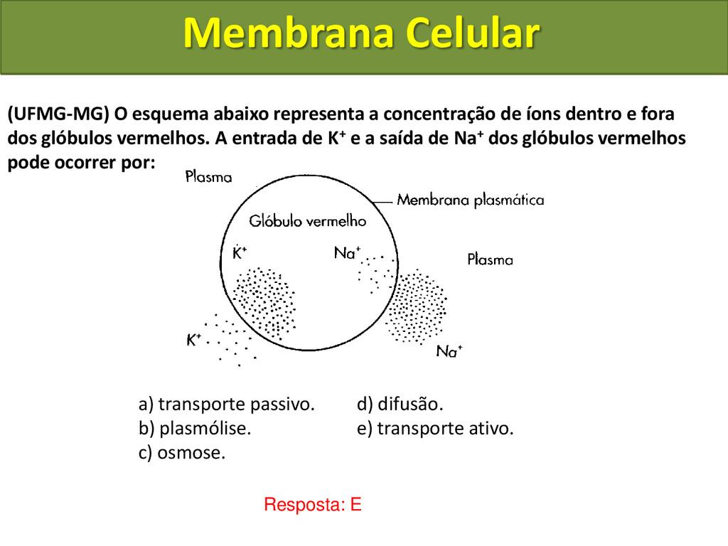 Membrana Celular Resposta: E (UFMG-MG) O esquem...