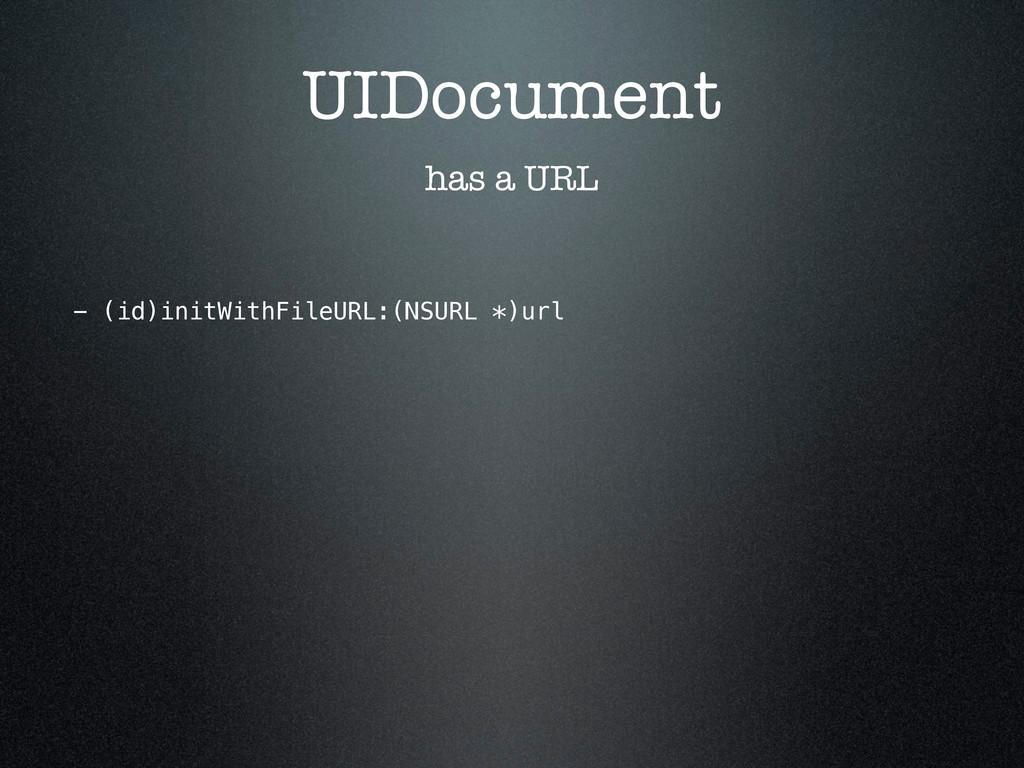 UIDocument has a URL - (id)initWithFileURL:(NSU...