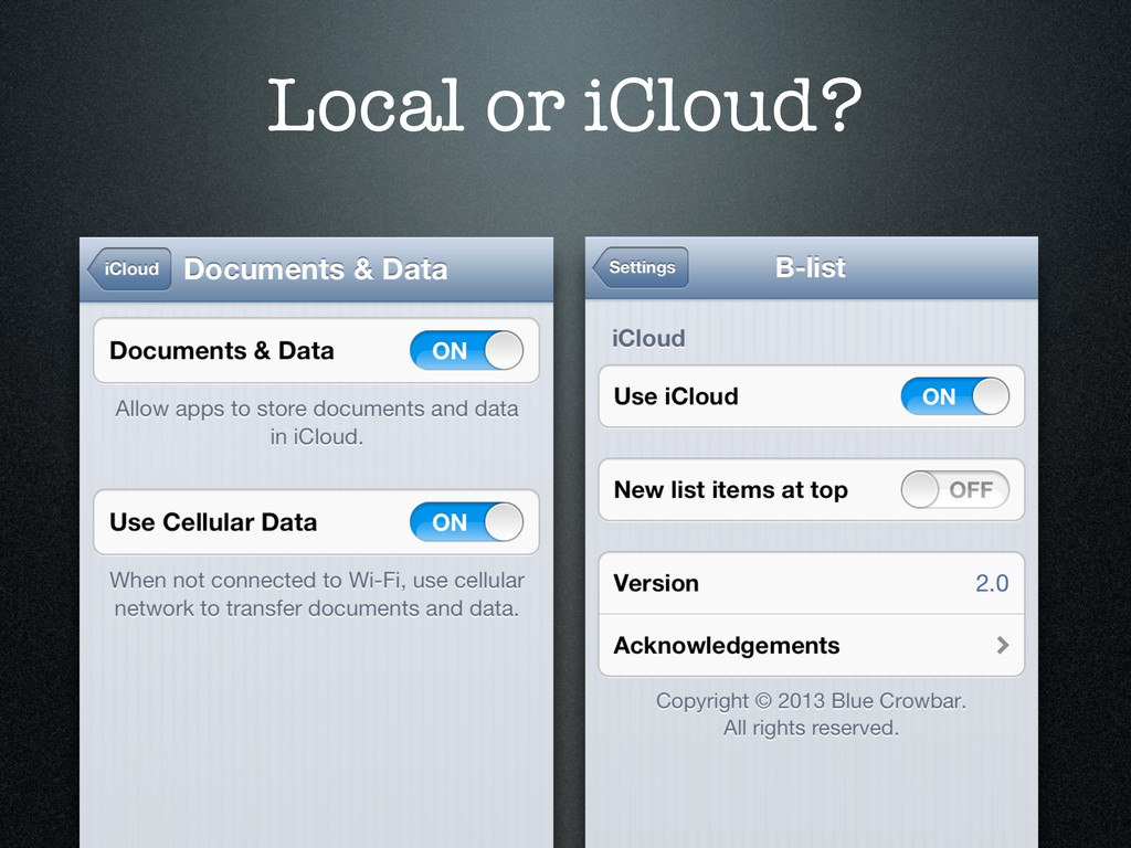 Local or iCloud?