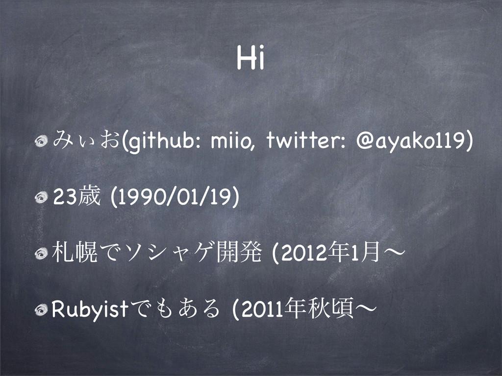 Hi Έ͓͌(github: miio, twitter: @ayako119) 23ࡀ (1...