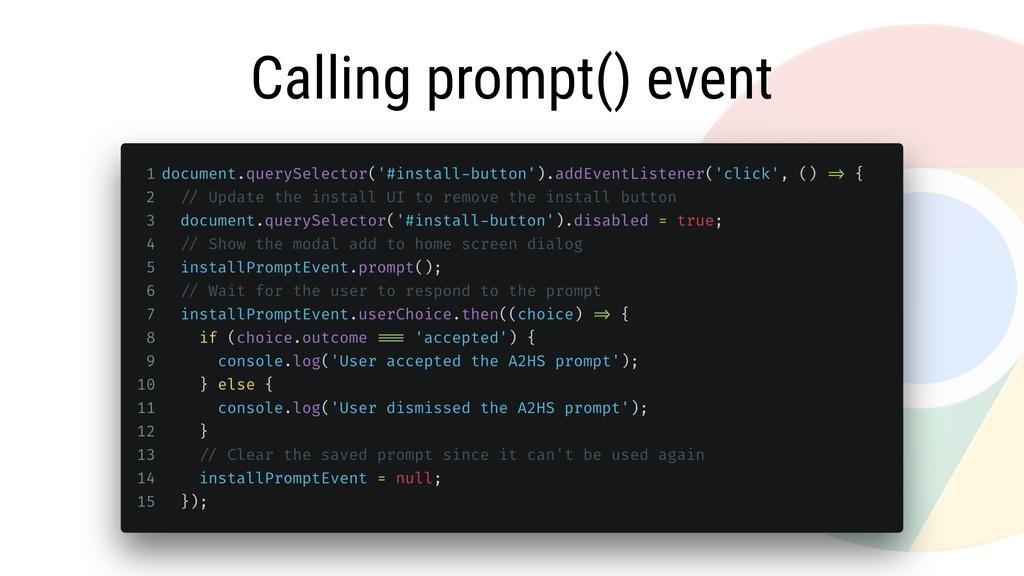 Calling prompt() event
