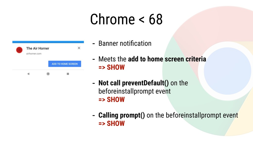 Chrome < 68 - Banner notification - Meets the ad...