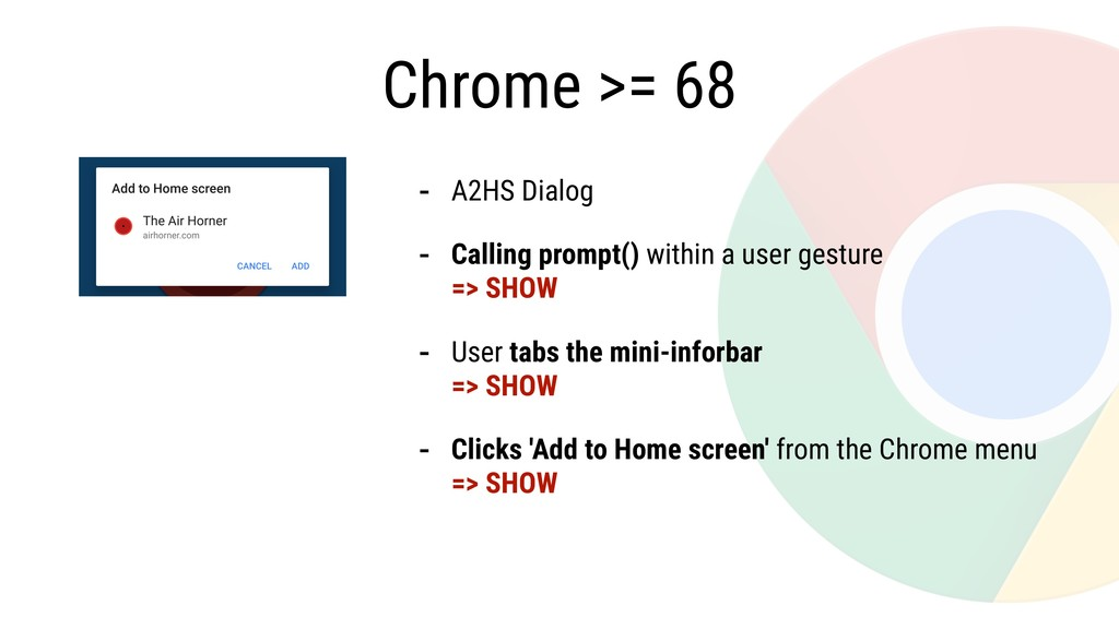 Chrome >= 68 - A2HS Dialog - Calling prompt() w...