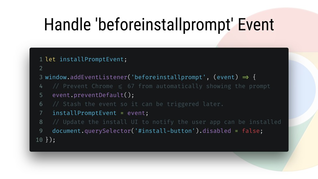 Handle 'beforeinstallprompt' Event